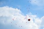 Ballons flogen in den Himmel