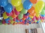 Runde bunte Ballons flogen zum Abschied in Dorsten am Kindergarten